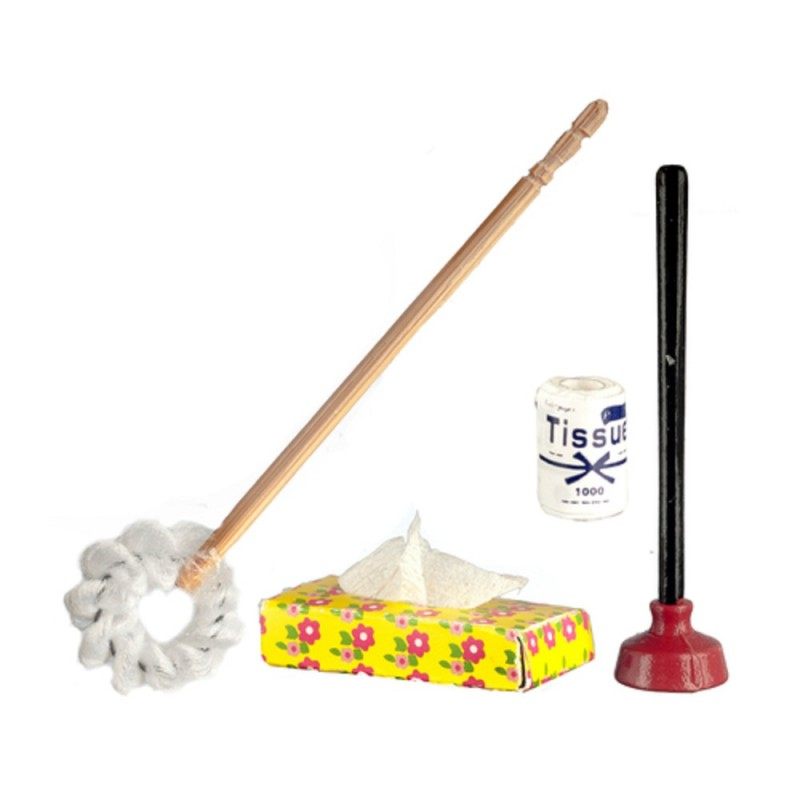 Dolls House Traditional Toilet Brush Tissue Plunger Miniature Bathroom Accessory