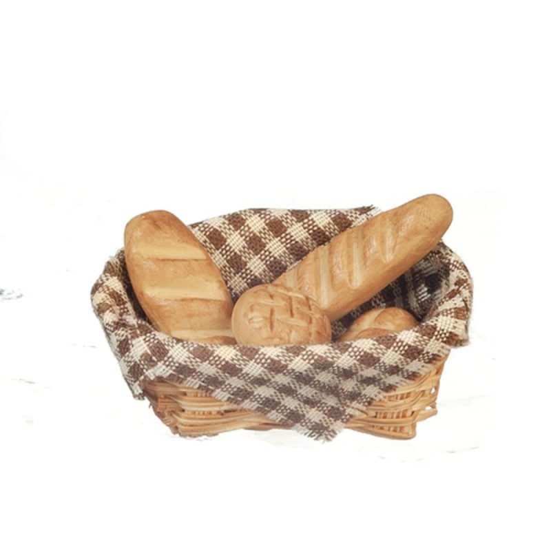 Dolls House Brown Basket of Fresh Bread Miniature Kitchen Bakers Shop Accessory