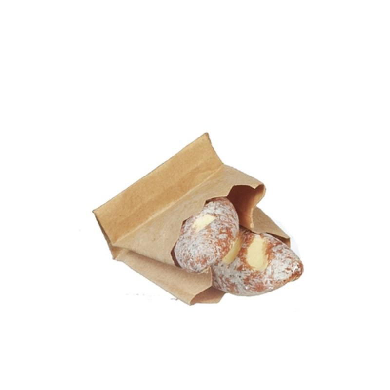 Dolls House Fresh Bread in Paper Bag Miniature Kitchen Bakers Shop Accessory