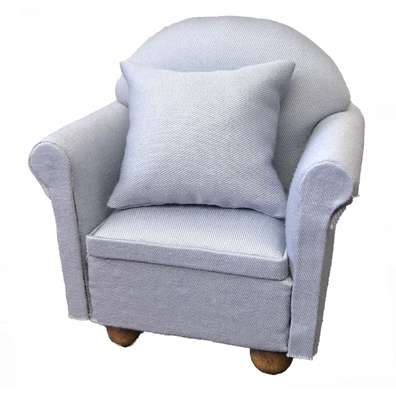 Dolls House Chic Grey Grey Armchair Miniature Modern Living Room Furniture