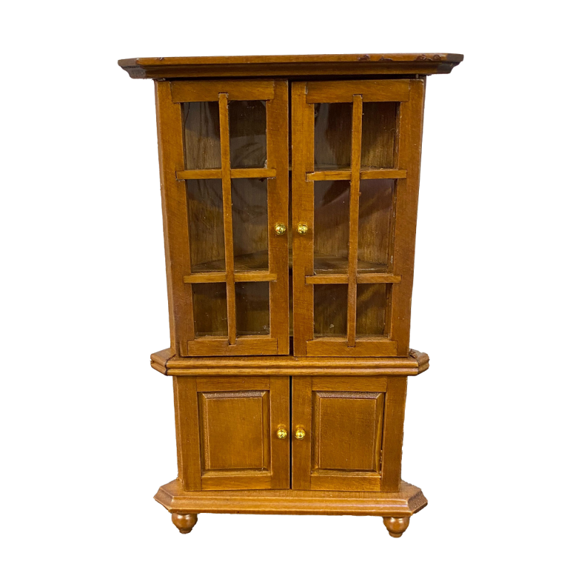Dolls House Walnut Corner China Cabinet Miniature Living Dining Room Furniture