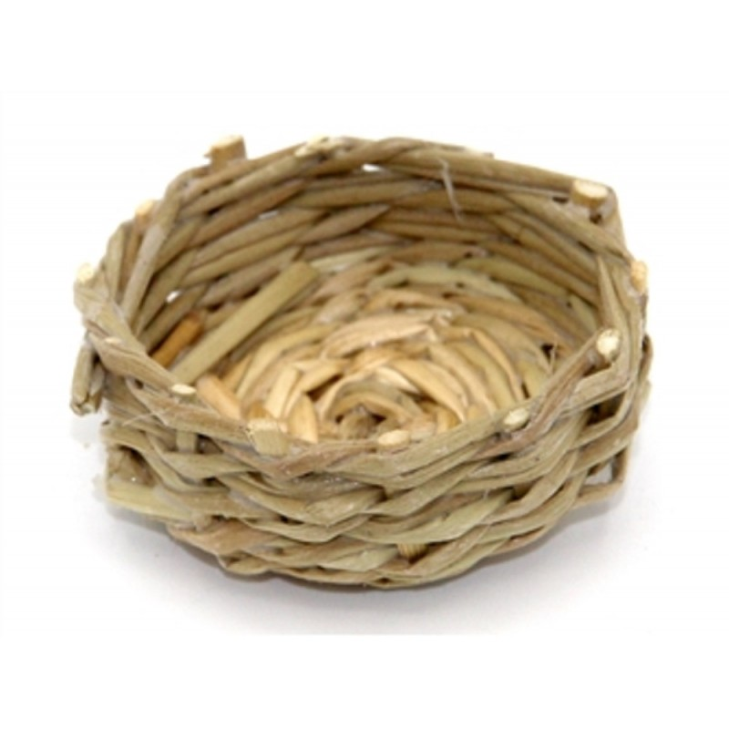 Dolls House Round Shallow Wicker Fruit Bread Basket Miniature 1:12 Accessory A