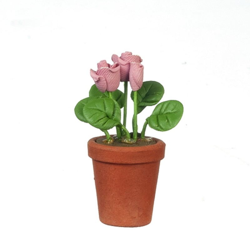 Dolls House Dusky Pink Rose Flowers in Terracotta Pot Miniature Garden Accessory