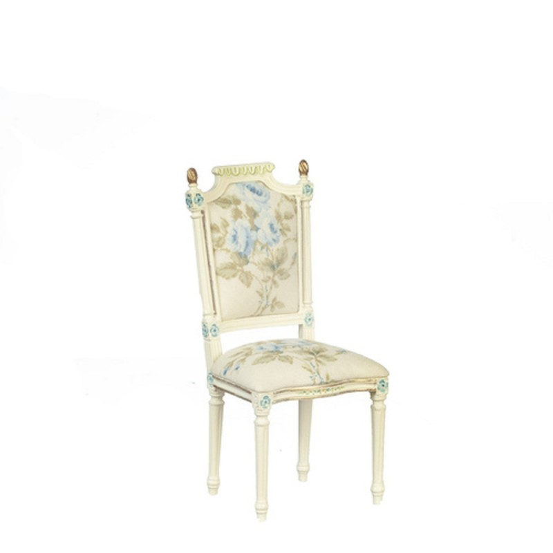 Dolls House Hand Painted White Floral Chair JBM Miniature Dining Room Furniture