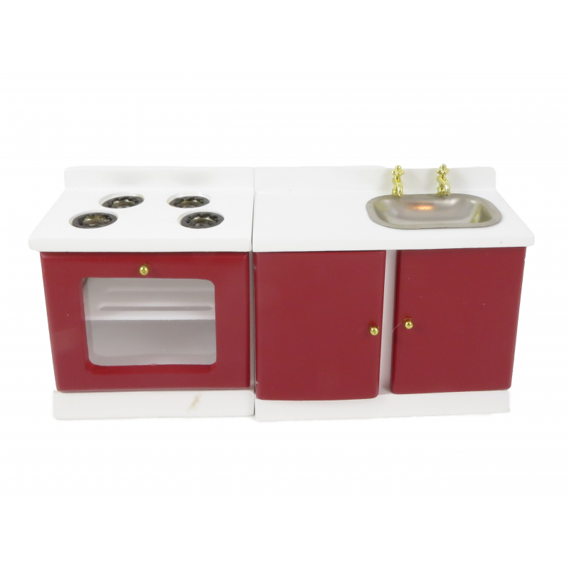 Dolls House Deep Red & White Sink & Cooker Stove Retro Modern Kitchen Furniture