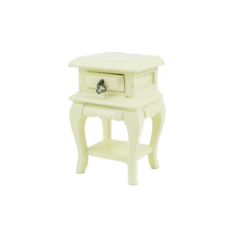Dolls House French Style Cream Bedside Table Miniature 1:12 Bedroom Furniture