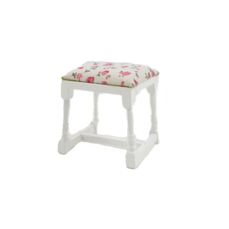 Dolls House White Dressing Table Stool Floral Seat Miniature Bedroom Furniture