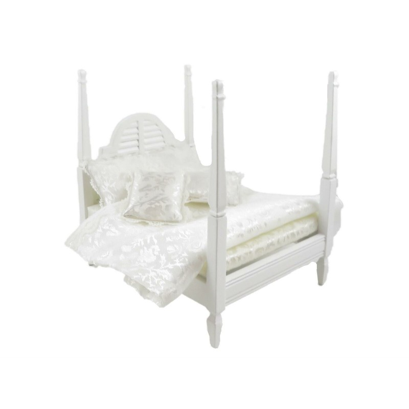 Dolls House White 4 Poster Double Bed & Bedding Miniature Bedroom Furniture