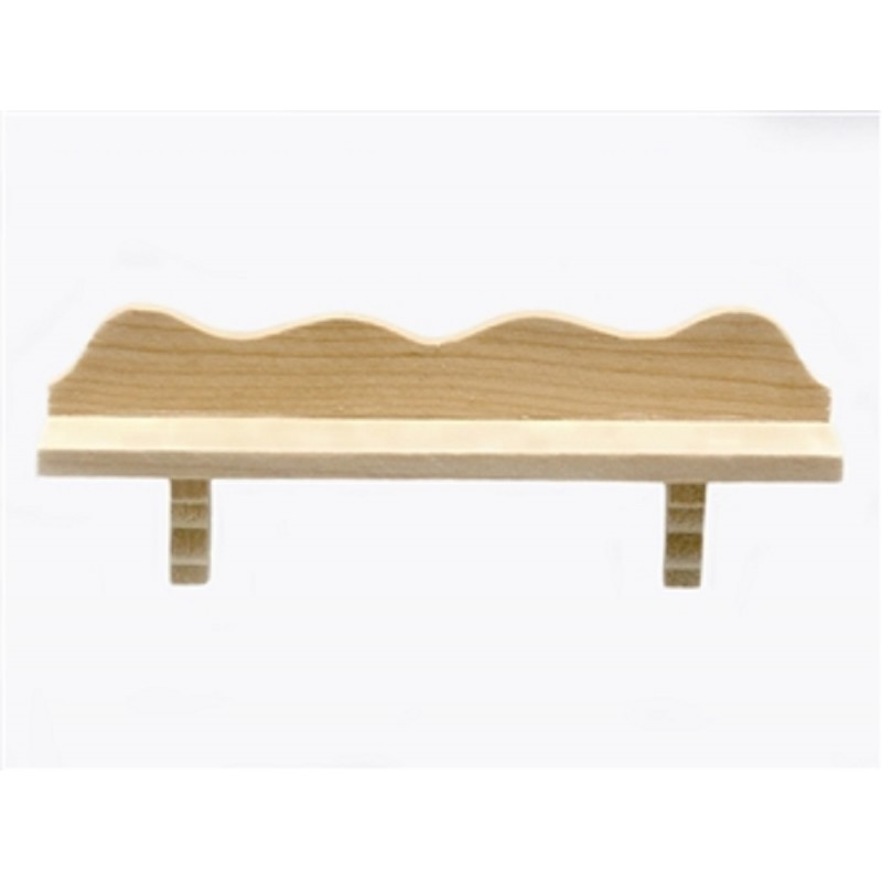 Dolls House Unfinished Scalloped Wooden Wall Shelf Miniature Decor Accessory