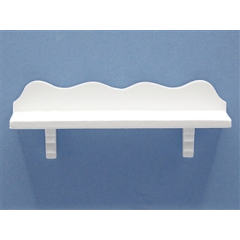 Dolls House White Scalloped Wooden Wall Shelf Miniature Decor Accessory
