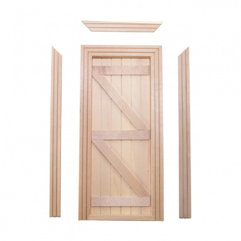 Dolls House Traditional English Ledged & Braced Wooden Door Miniature Builders