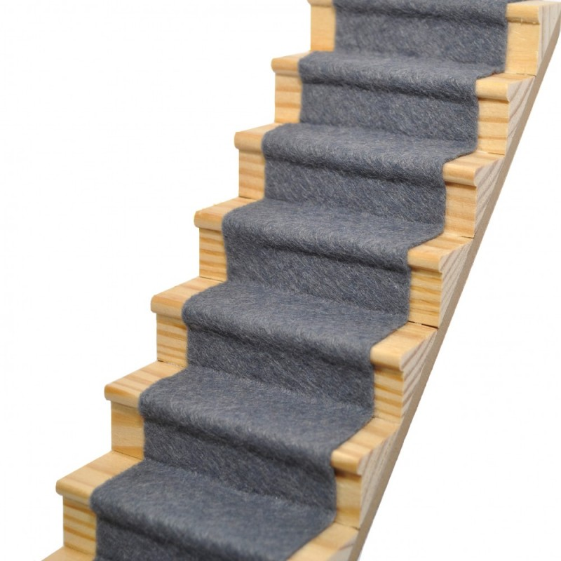 Dolls House Slate Grey Wool Mix Stair Carpet Runner Self Adhesive 1:12 Flooring