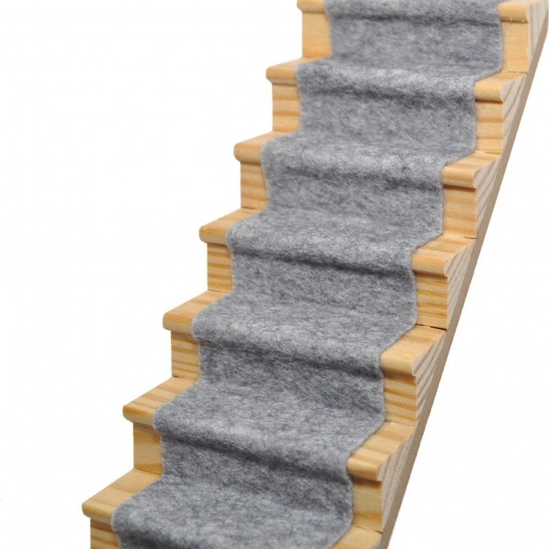 Dolls House Koala Grey Wool Mix Stair Carpet Runner Self Adhesive Flooring