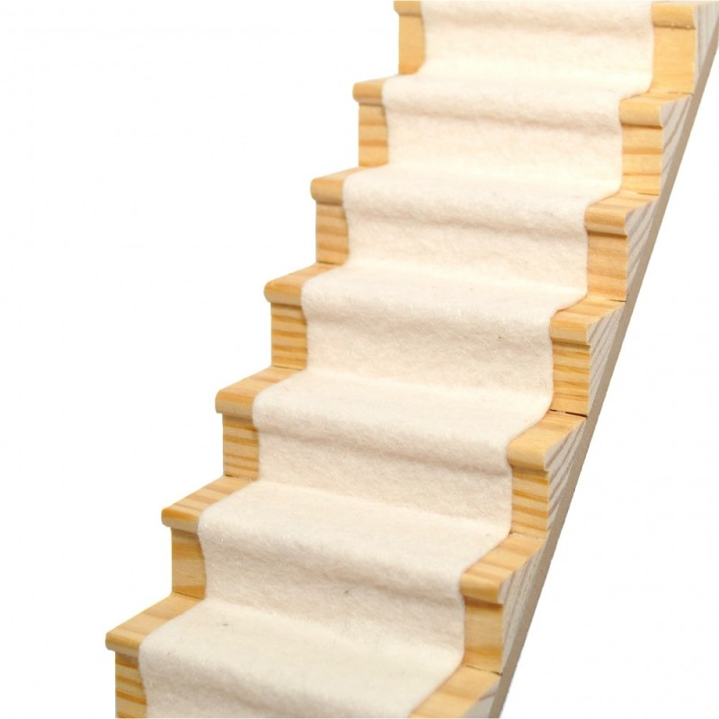 Dolls House Natural Soft Cream Stair Carpet Runner Self Adhesive 1:12 Flooring