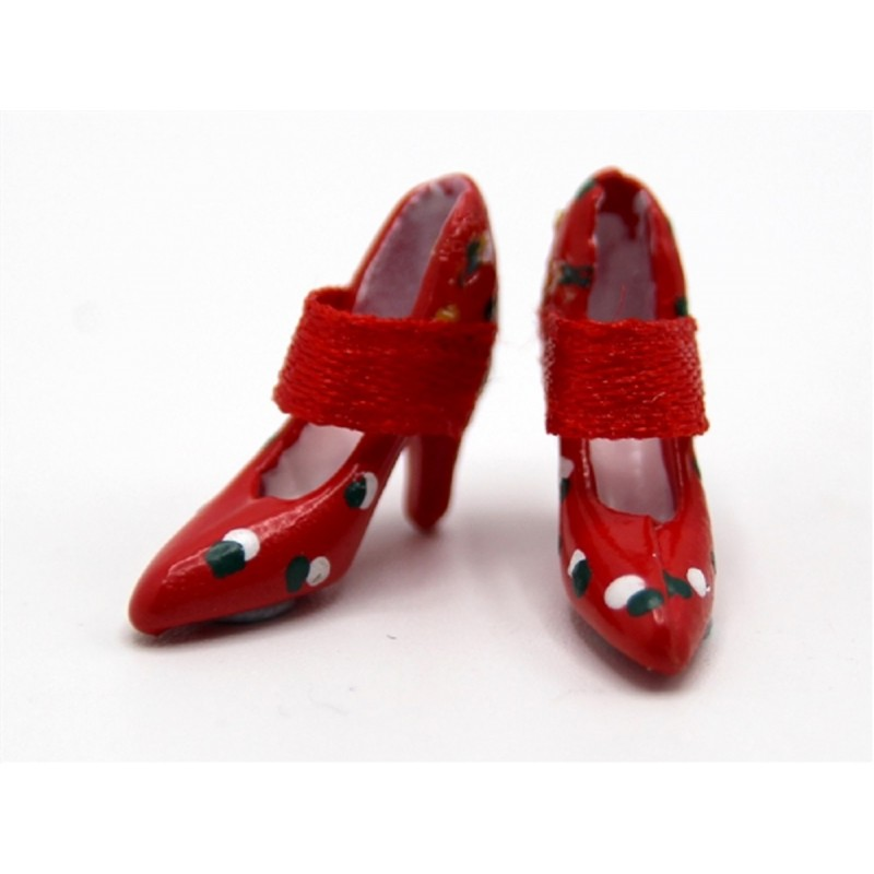 Dolls House Red Spotty Ladies Evening Shoes Miniature Shop Bedroom Accessory