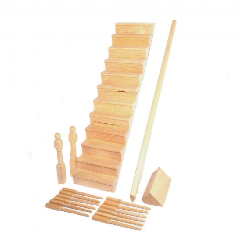 Dolls House Staircase with Curved Bannister Kit Miniature Stairs DIY Builders