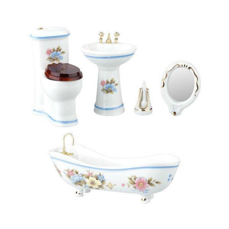 Dolls House White Porcelain Bathroom Suite Blue Trim Miniature Furniture Set