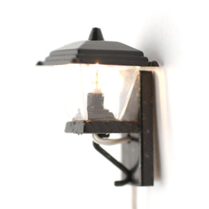 Dolls House Modern Garden Light Lantern Miniature 12V Electric Lighting Black