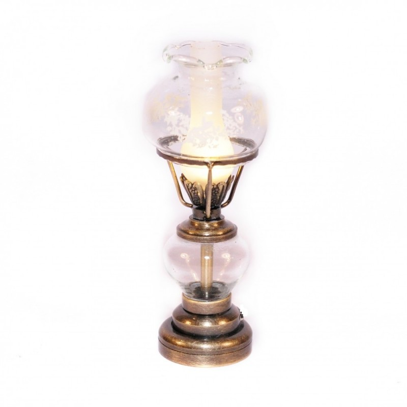 Dolls House Antique Gold Table Lamp Etched Glass Shade 12V Electric Lighting