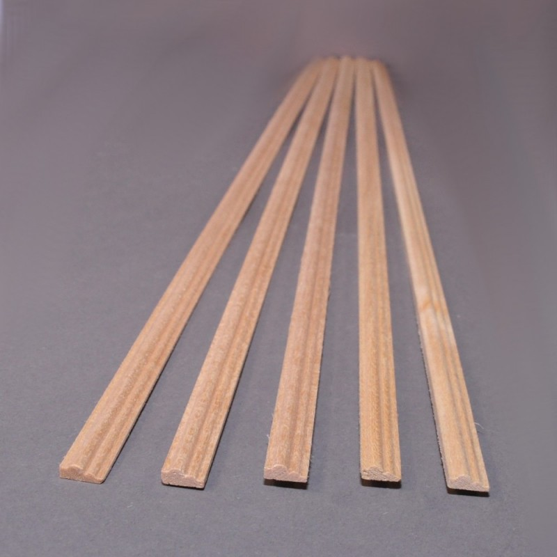 "Dolls House Bare Wood Chair Rail Dado 5/16 x 17.3/4"" Moulding 8 x 450mm Pack 5"