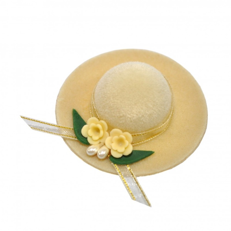 Dolls House Beige Lady's Hat Floral Trim Millinery Shop Bedroom Accessory