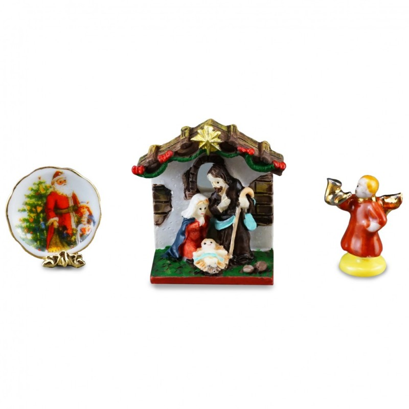 Dolls House Christmas Nativity & Plate Ornaments Reutter Porcelain Accessory Set