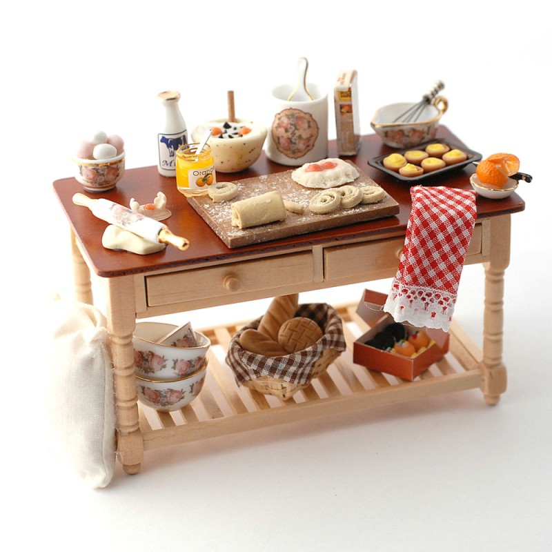 Dolls House Baking in Progress Table Miniature Reutter Kitchen Cafe Furniture