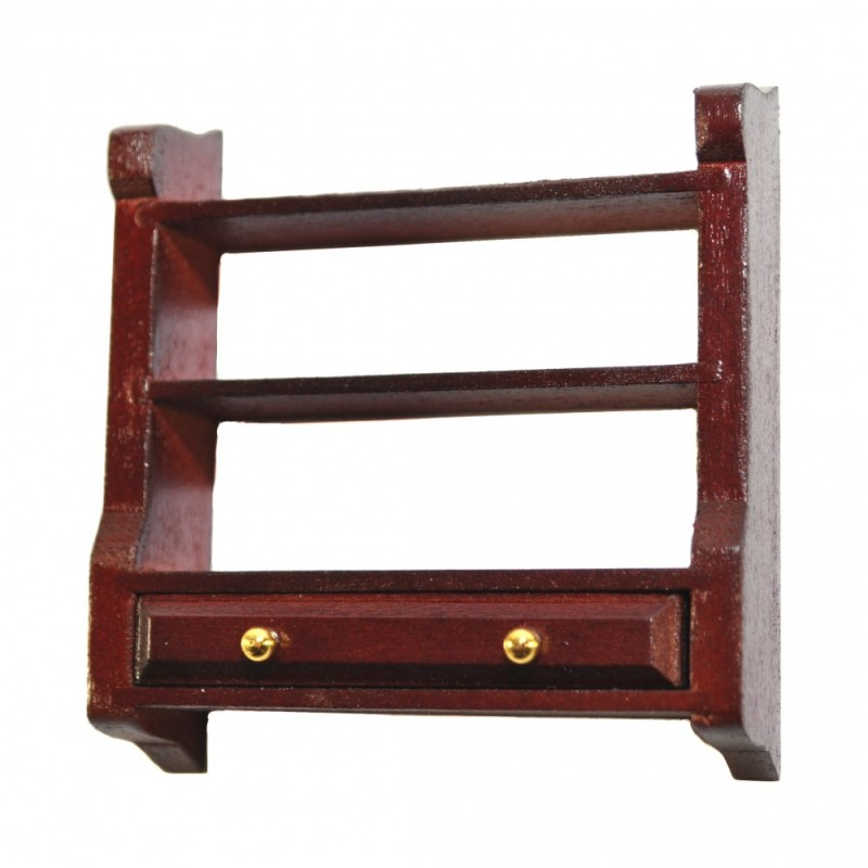 Dolls House Mahogany Wall Shelf Unit & Drawer Miniature Kitchen Furniture