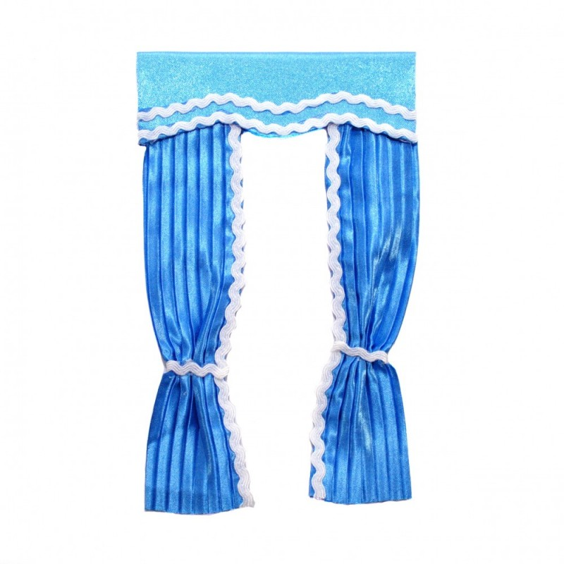 Dolls House Blue Curtains with Pelmet Tied Back Miniature 1:12 Scale Accessory