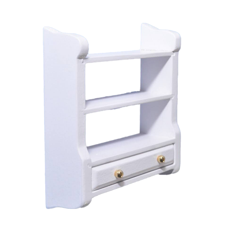 Dolls House White Wall Shelf Unit & Drawer Miniature Shelves Kitchen Furniture