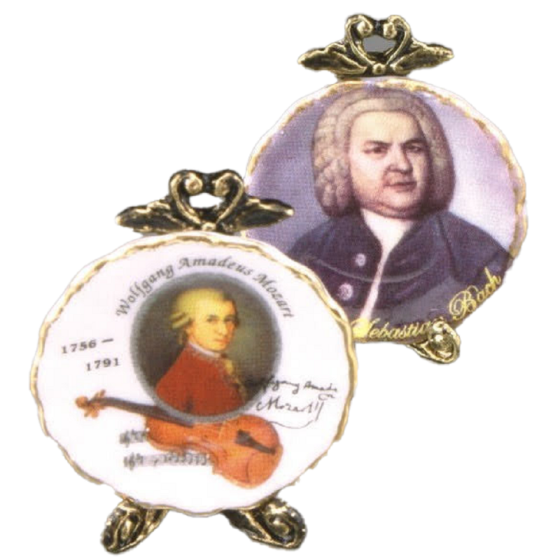 Dolls House Mozart & Bach Plates Ornament Miniature Reutter Porcelain Accessory