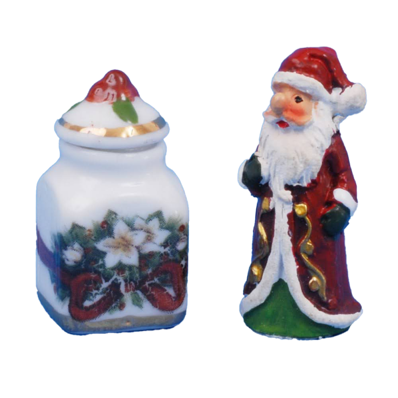 Dolls House Small Santa with Storage Jar Christmas Ornaments Reutter Accessory