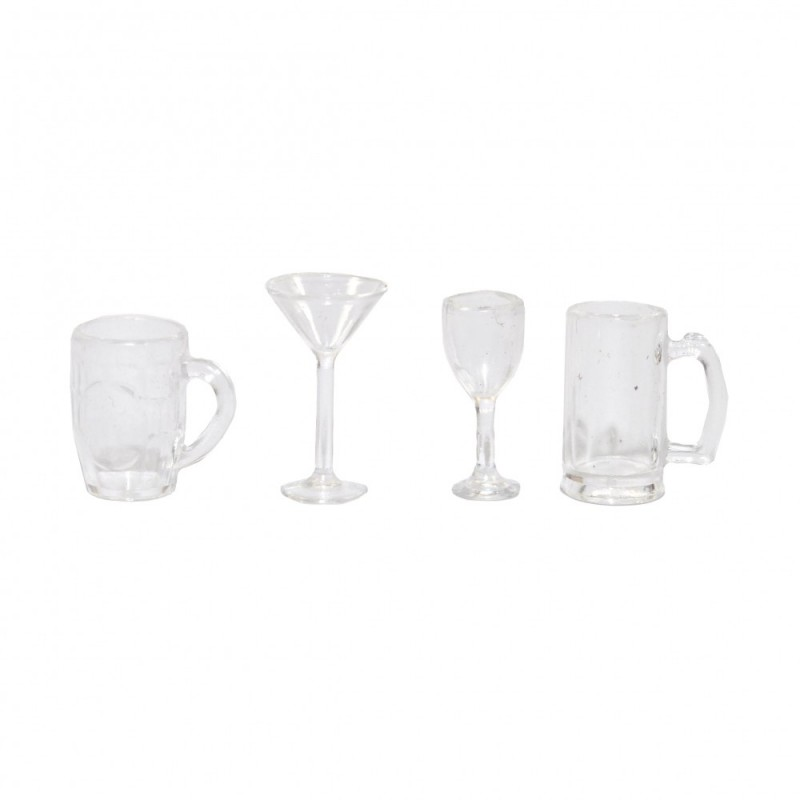 Dolls House 4 Mixed Drinks Glasses Miniature Pub Kitchen Dining Room Accessory
