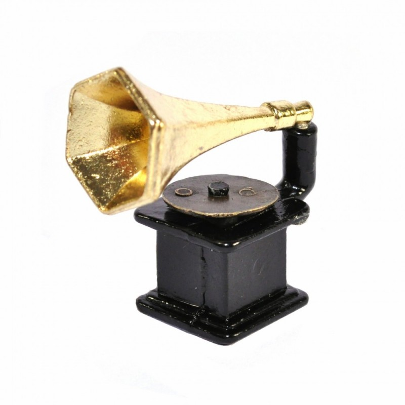 Dolls House Small Gramophone Record Player Old Fashioned Music Room Accessory