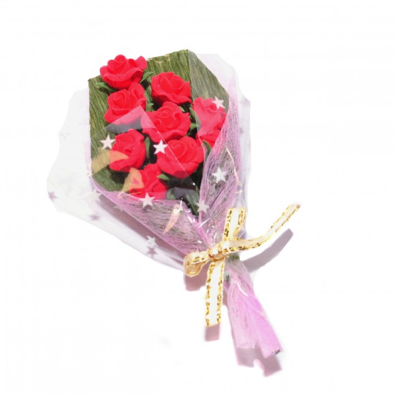 Dolls House Large Bouquet of Roses Miniature Wrapped Flower Shop Gift Accessory