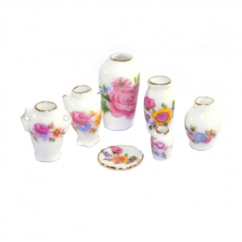 Dolls House Decorative Shaped Set of Matching Floral Vases Miniature Ornaments