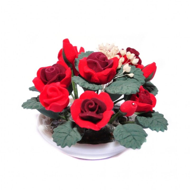 Dolls House Red Roses Flower Display in Round White Bowl Table Centre Accessory