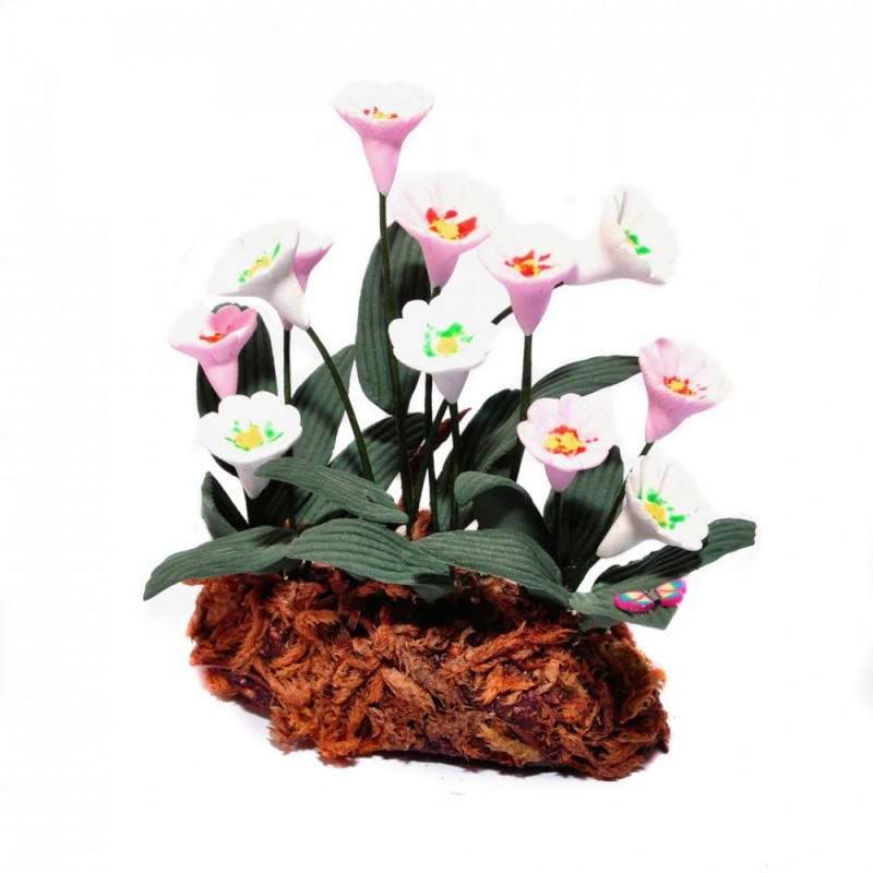 Dolls House Pink and White Flowers in Ground Grass Miniature Garden Accessory