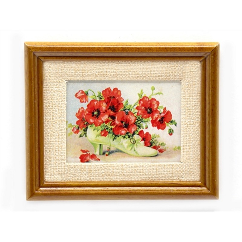 Dolls House Shoe of Poppies Picture in Walnut Frame Red Flowers Painting 1:12