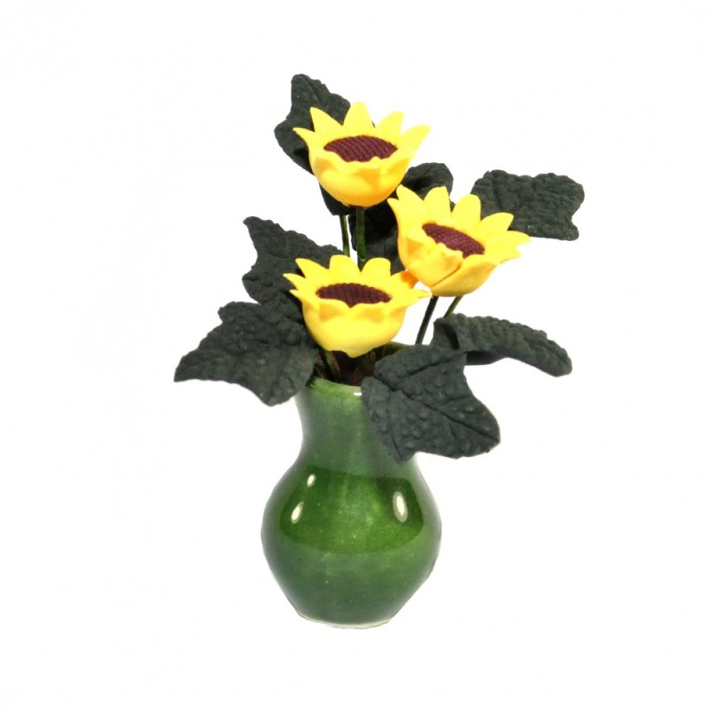 Dolls House Yellow Sunflowers in Green Vase Miniature Flower Display Accessory