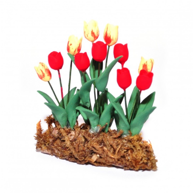 Dolls House Yellow and Red Tulips Flowers in Ground Grass Garden Accessory