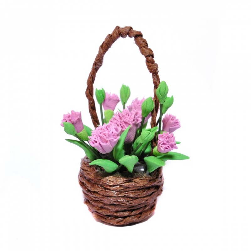 Dolls House Pink Carnations in Basket Miniature Home Flower Display Accessory