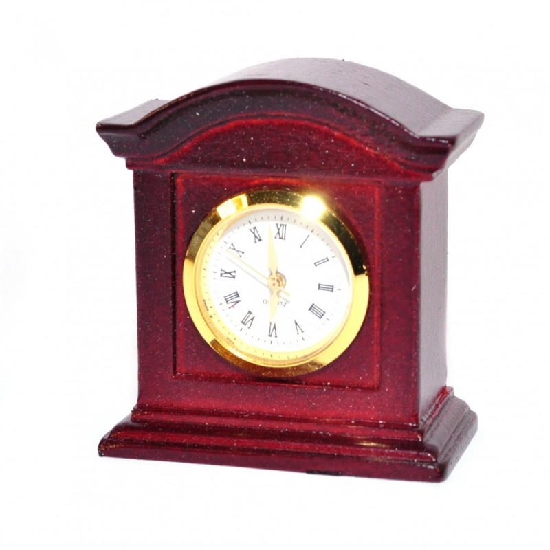Dolls House Working Mantle Clock Mahogany Wood Miniature Living Room Accessory