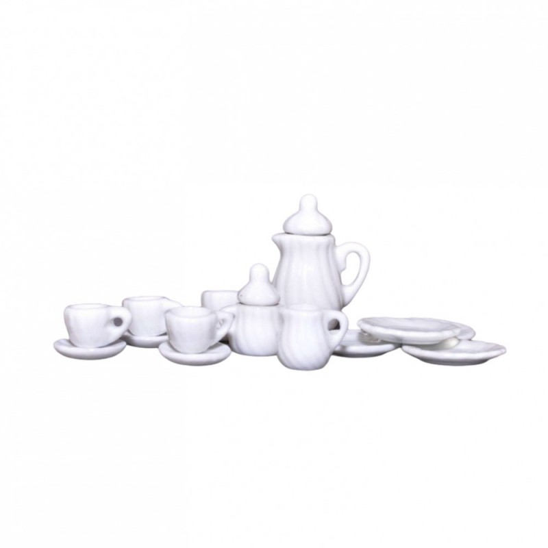 Dolls House White Coffee Pot & Mugs Set Miniature Kitchen Cafe Dining Accessory