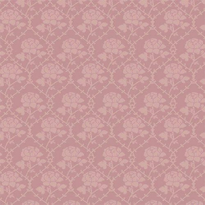 Dolls House Pink Rose Pattern Wallpaper Miniature 1:12 Scale Print