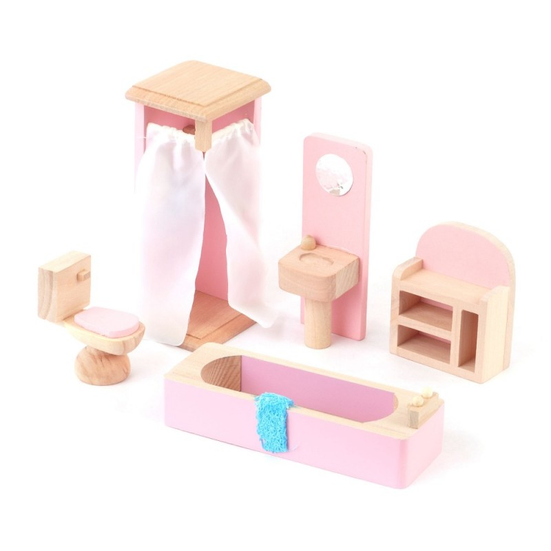 Dolls House Pink Wooden Bathroom Suite Miniature Furniture Set 3 Years Plus