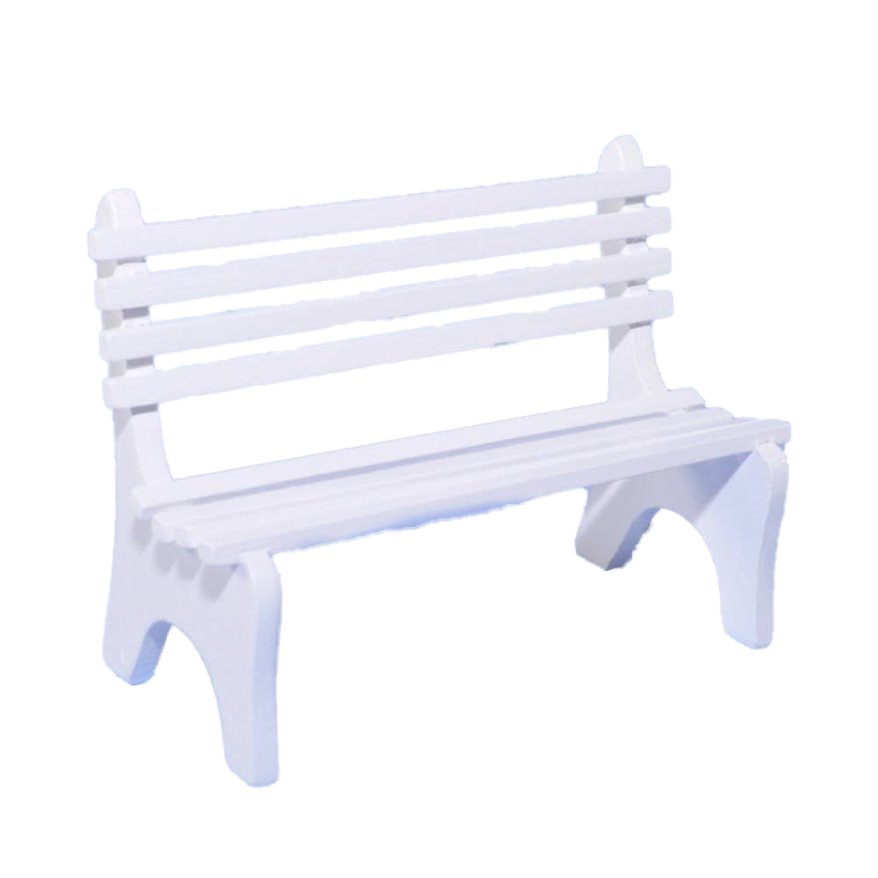 Dolls House White Wooden Slat Garden Seat Bench Miniature Outdoor Park Furniture