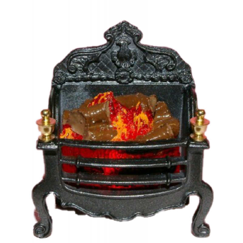 Dolls House Georgian Log Fire Ornate Light up Miniature Fireplace Accessory 12V