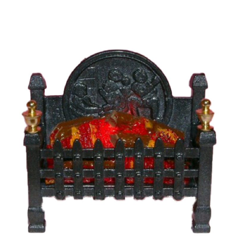Dolls House Regal Glowing Log Fire Light up Miniature Fireplace Accessory 12V