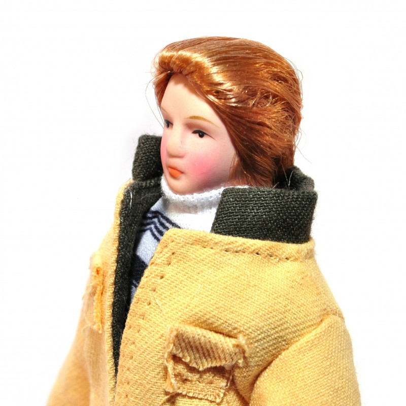 Dolls House Modern Man in Yellow Jacket Porcelain Dad 1:12 People